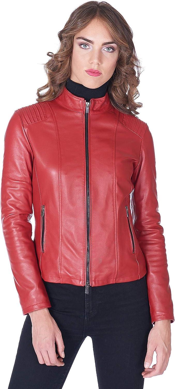 Red Nappa Lamb Leather Biker Jacket Quilted Shoulder
