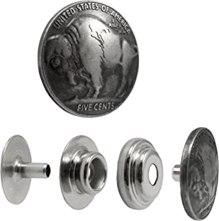Springfield Leather Company Decorative Buffalo Nickel Line 24 Snap Set 5 Pack
