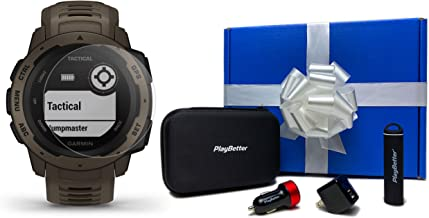 Garmin Instinct Tactical (Coyote Tan) Beat Yesterday Gift Box Bundle   +HD Screen Protectors, PlayBetter Portable Charger, Car/Wall Adapters & Protective Case   Rugged US Military 810G, Stealth Mode