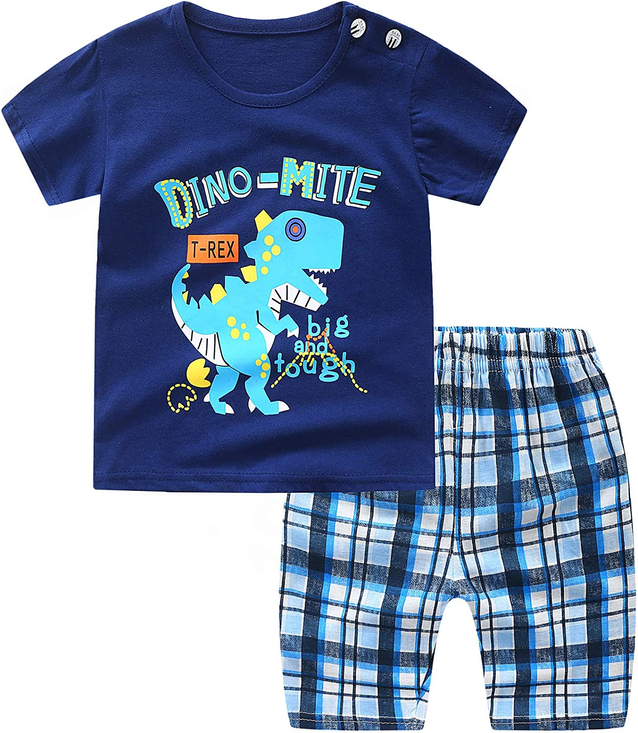 Toddlers-Boys 100%-Cotton-Dinosaur T-Shirt/Shorts - for Newbron Baby Clothes Set 2 Pieses 1-3T