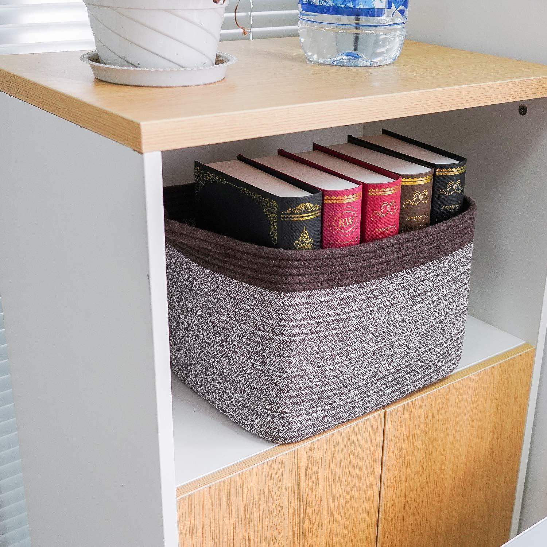 Goodpick Cube Storage Bins 13x9.8x 9 Shelf Baskets for Storage Towel Book Cloth Storage Bins for Office Woven Basket for Shelves Baby Laundry Basket Toys Storage Basket Closet Storage Basket