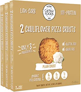 Cali'flour Foods Pizza Crust (Plain, 3 Boxes, 6 Crusts) - Fresh Cauliflower Base | Low Carb, High Protein, Gluten and Grain Free | Keto Friendly