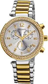 Akribos XXIV Women's Bling Chronograph Watch - Silver Diamond Crystal Sunburst Dial - Crystal Bezel - Silver and Gold Stainless Steel Bracelet Strap - AK529