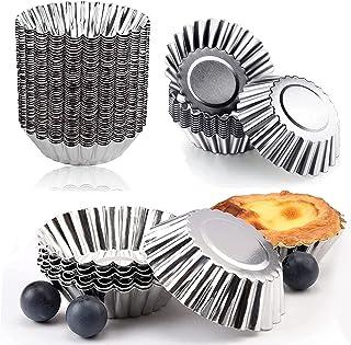 Amoued 40 Pcs Aluminum Egg Tart Molds, Mini Pie Pan Cake Baking Cups,Reusable Nonstick Ripple Flower Shape Pie Shells,Cupc...