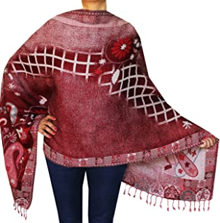 Boiled Wool Jamawar Shawl Scarves Womens Indian Clothing (76 x 28 inches)