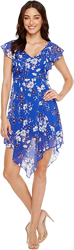 Printed Ruffle Dress with Asymmetrical Hem JS7A9387