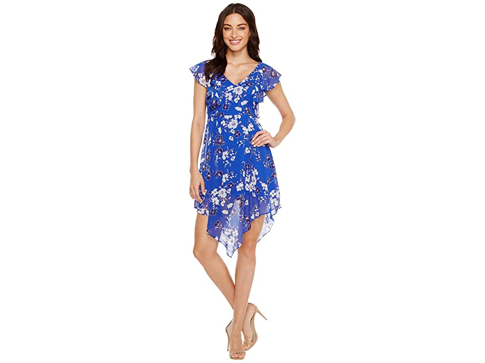 Jessica Simpson Printed Ruffle Dress with Asymmetrical Hem JS7A9387 (Print) Women