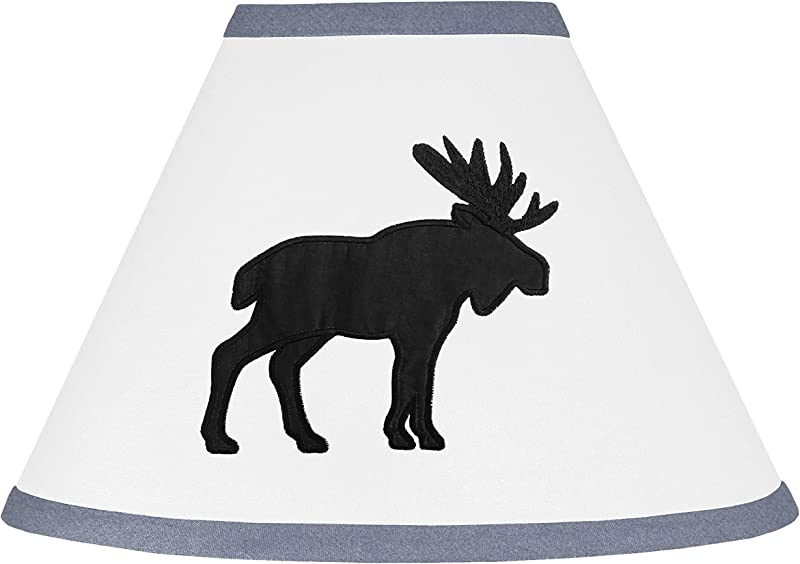 Sweet Jojo Designs Blue Black And White Woodland Moose Lamp Shade For Rustic Patch Collection