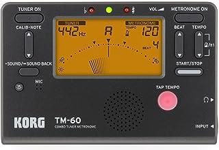 KORG(コルグ) チューナー メトロノーム 同時に使える TM-60 BK ブラック 吹奏楽 ブラスバンド オーケストラ 個人練習 コンパクト 持ち運び