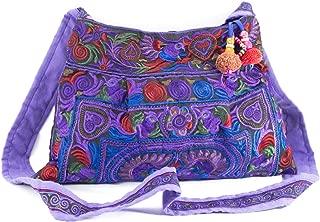 Changnoi Purple Bird Hmong Bag Hill Tribe Bags Thai Handmade Handbags Embroidered Strap Fair Trade