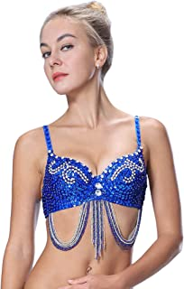 Tribal Glitter Sparkle Rhinestone Belly Dance Beaded Sequined Bra Top for Rave Cabaret Party