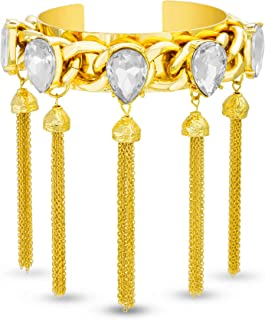 Steve Madden Yellow Gold Plated Pear Crystal Link Chain Tassel Cuff Bangle for Women