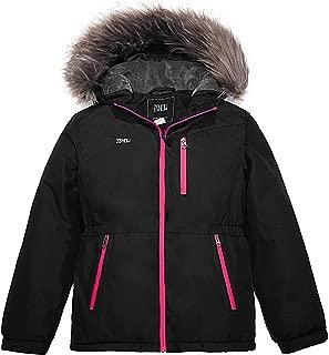 ZSHOW Girls' Waterproof Ski Jacket Faux Fur Hooded Winter Fleece Inner Coat