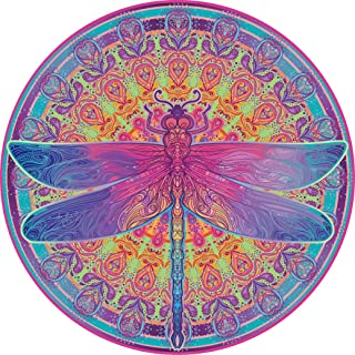 Bgraamiens Puzzle-Zentangle Dragonfly-1000 Pieces Vivid Dragonfly Mandala Challenge Blue Board Round Jigsaw Puzzles