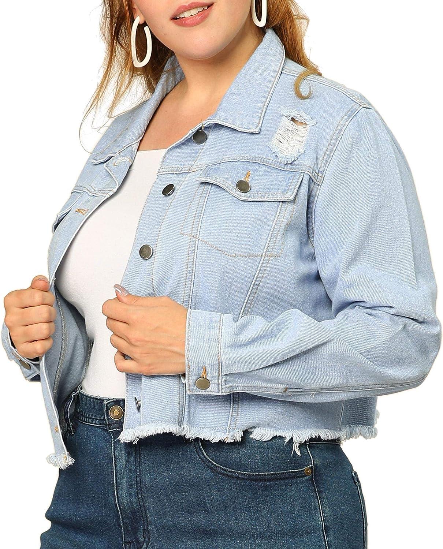 Agnes Orinda Women's Plus Size Jeans Jacket Frayed Washed Cropped Denim Jackets