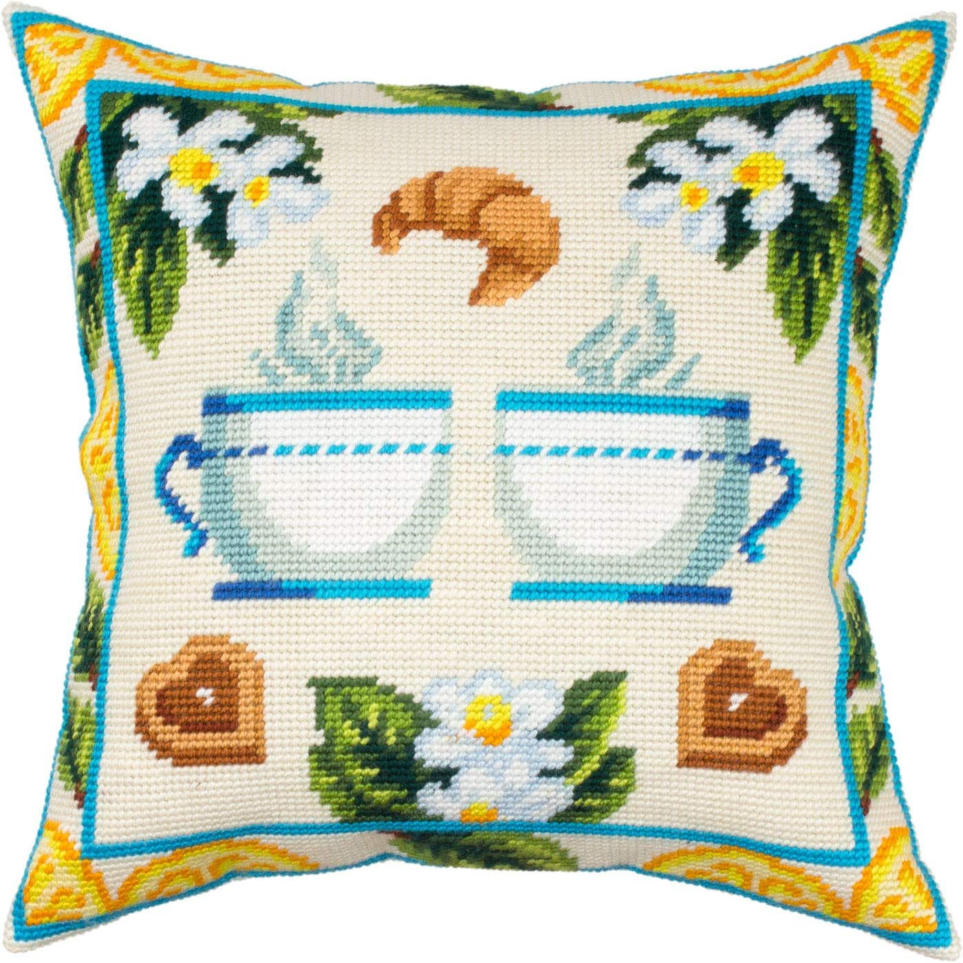 Tea with outlet Lemon. Needlepoint Kit. Pillow Inches. P 16×16 Excellent Throw