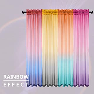Rainbow Curtains for Kids Bedroom Play Room Girls Baby Nursery Boy Teen 2 Panels Window Sheer Voile Curtain Drapes Casual Gradient Multi Color Colorful Pattern Coastal Ocean Blue Red 52 x 96 Inch Long