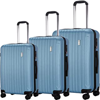 Luggage Set 3 Piece Suitcase ABS Trolley Spinner Hardshell Lightweight Suitcases TSA (blue)
