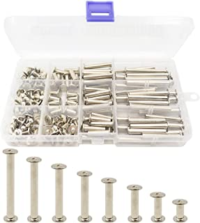 LBY 160pcs Phillips Chicago Screw Binding Screw Post M5 x 10/15 /20/25 /30/35/40/45mm Book Screws and Leather Saddles Purses Belt Repair Bookbinding Rivet Nickel-plated Silver 80-Sets
