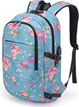 Tzowla Business Laptop Backpack Water Resistant Anti-Theft College Backpack with USB Charging Port and Lock 15.6 Inch Computer Backpacks for Women Girls, Casual Hiking Travel Daypack(A-FlowerBlue)
