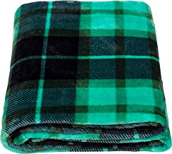 """SOCHOW Plaid Flannel Fleece Throw Blanket, All Season Blanket for Bed, Couch,Car, Flannel, Green, 60"""" × 80"""""""