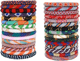 12 Random Mix Handmade Crochet Nepal Seed Bead Bracelets (ONE Dozen)
