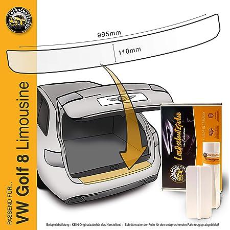 Lackschutzshop Passform Lackschutzfolie Passend Für Vw Golf 8 Viii Limousine Typ Cd Ab Bj 2020 Alle Modelle Incl Gti Gte Etc Ladekantenschutz Transparent 150µm Auto