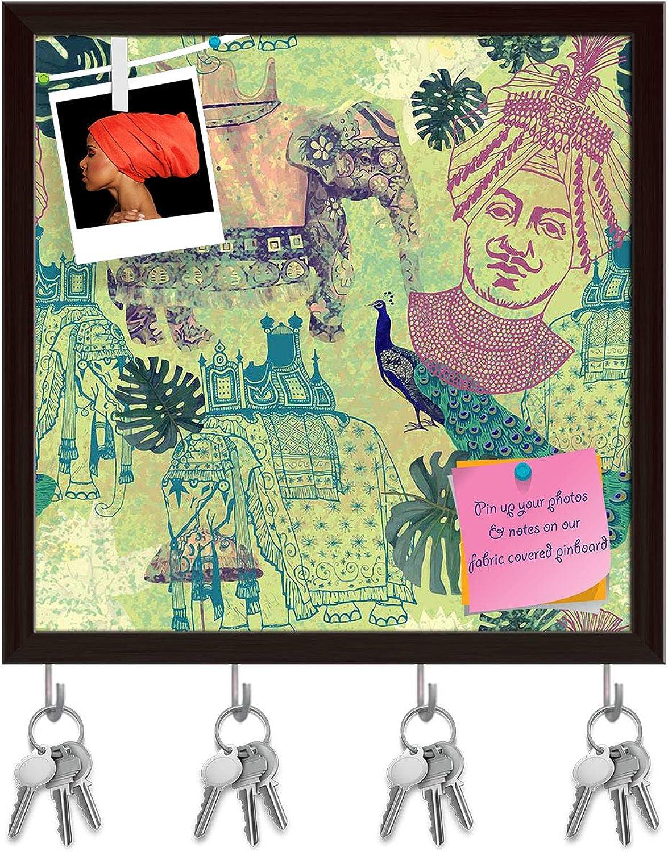 Artzfolio Ethnic India Key Holder Hooks   Notice Pin Board   Dark Brown Frame 20 X 20Inch