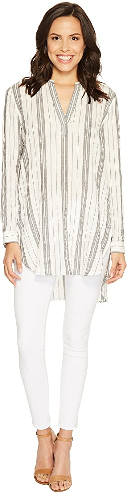 Long Sleeve Crinkle Cotton Stripe Split-Neck Popover