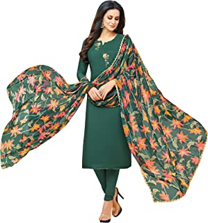 Rajnandini Women's Bottle Green chanderi silk Embroidered Semi-Stitched Salwar Suit Material With Printed Dupatta (Free Size)