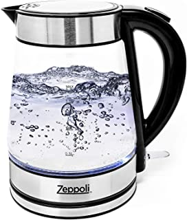 Zeppoli Electric Kettle – Glass Tea Kettle (1.7L) Fast Boiling and Cordless,..
