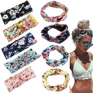Adramata 9 Pcs Boho Headbands for Women Girls Wide Bohemian Knotted Yoga Headband Head Wrap Hair Band