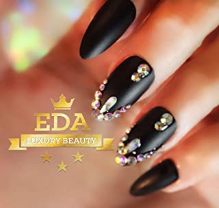 EDA Luxury Beauty Matte Black 3D Ultimate Glamorous Jewel Design Gel Glitter Full Cover Press On Artificial Nail Tips Perfect False Nails Extra Long Oval Round Almond Stiletto Super Fashion Fake Nails