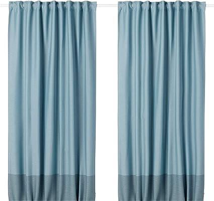 Ikea 404 140 60 Marjun Blackout Curtains 1 Pair Blue Amazon De Home Kitchen