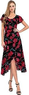 Women's Floral Split Maxi Dress Casual Ruffles Scoop Neck Long Dresses