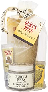 Burt's Bees Hand Repair Gift Set, 3 Hand Creams plus Gloves  Almond Milk Hand Cream, Lemon Butter Cuticle Cream, Shea Butter Hand Repair Cream