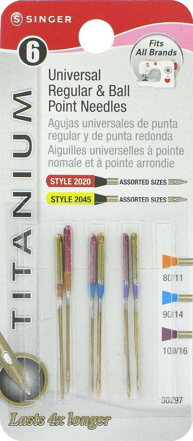 SINGER 30297 6 Regular Ball Point Titanium Machine Needles