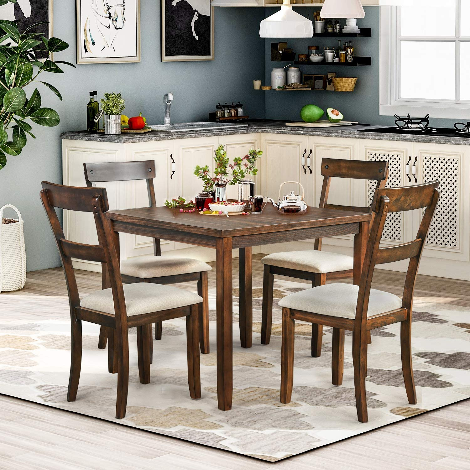 P PURLOVE 9 Piece Dining Table Set Rustic Wood Kitchen Table and 9 Chairs 9  Piece Wooden Dining Set for Kitchen Dining Room American Walnut