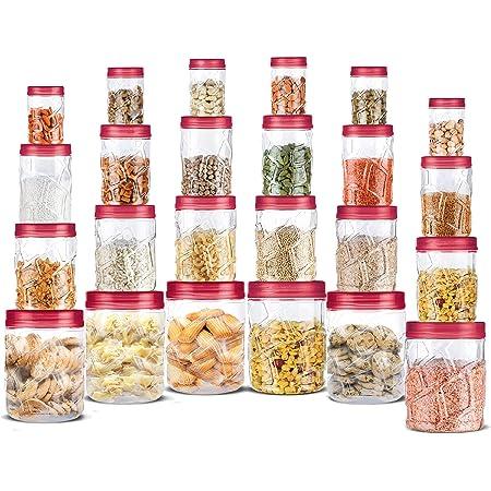 Milton Vitro Plastic Pet Storage Jar and Container, Set of 24 (6 pcs x 300 ml Each, 6 pcs x 700 ml Each, 6 pcs x 1.4 Ltrs Each, 6 pcs x 2 Ltrs Each), Red Wine   Air Tight  Kitchen Organiser   BPA Free