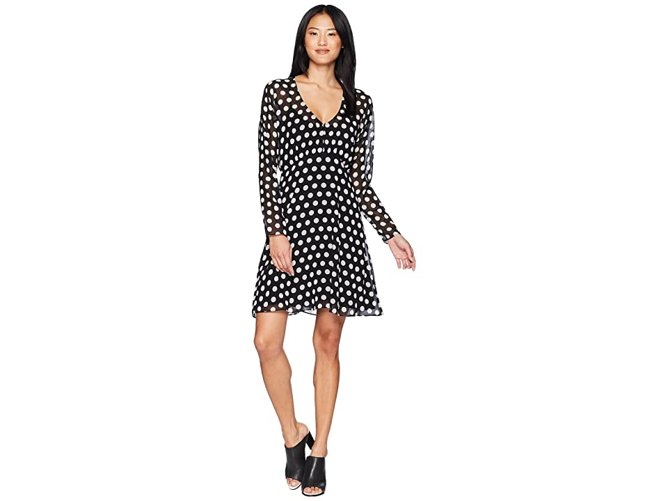 Juicy Couture All Over Dot Flirty Dress (Pitch Black Polka Dot) Women