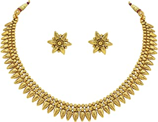 Jewelsiya Gold Plated Leaf Shape Necklace JewellerySet with Earring for Womens and Girls