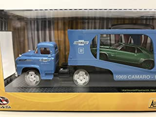 M2 Machines Less Than 500 Worldwide Chase Car with Special Wheels & Unique Design Triple Cars Auto-Haulers 1958 Spartan LCF, 1969 Camaro ZL-1 & Camaro SS RS 396 1:64 Scale S19 16-03 Blue/Green/Silver