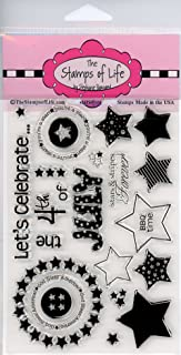 4th of July Stamps for Card-Making and Scrapbooking Supplies by The Stamps of Life - Independence Day Fireworks Stars4You