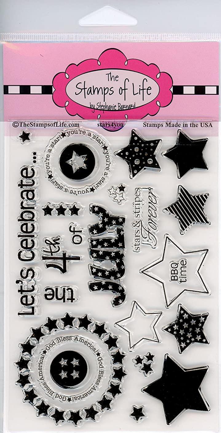 4th of July Clear Stamps for Scrapbooking and Card-Making by The Stamps of Life - Independence Day Fireworks Stars4You