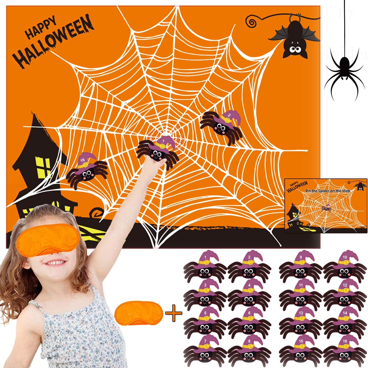 Funnlot Halloween Party Games for Kids Pin The Spider on The Web Game  Halloween Party Favors and Games Halloween Halloween Party Games Activities  ...