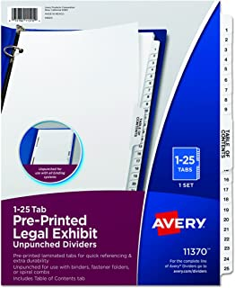 legal exhibit dividers 1 100