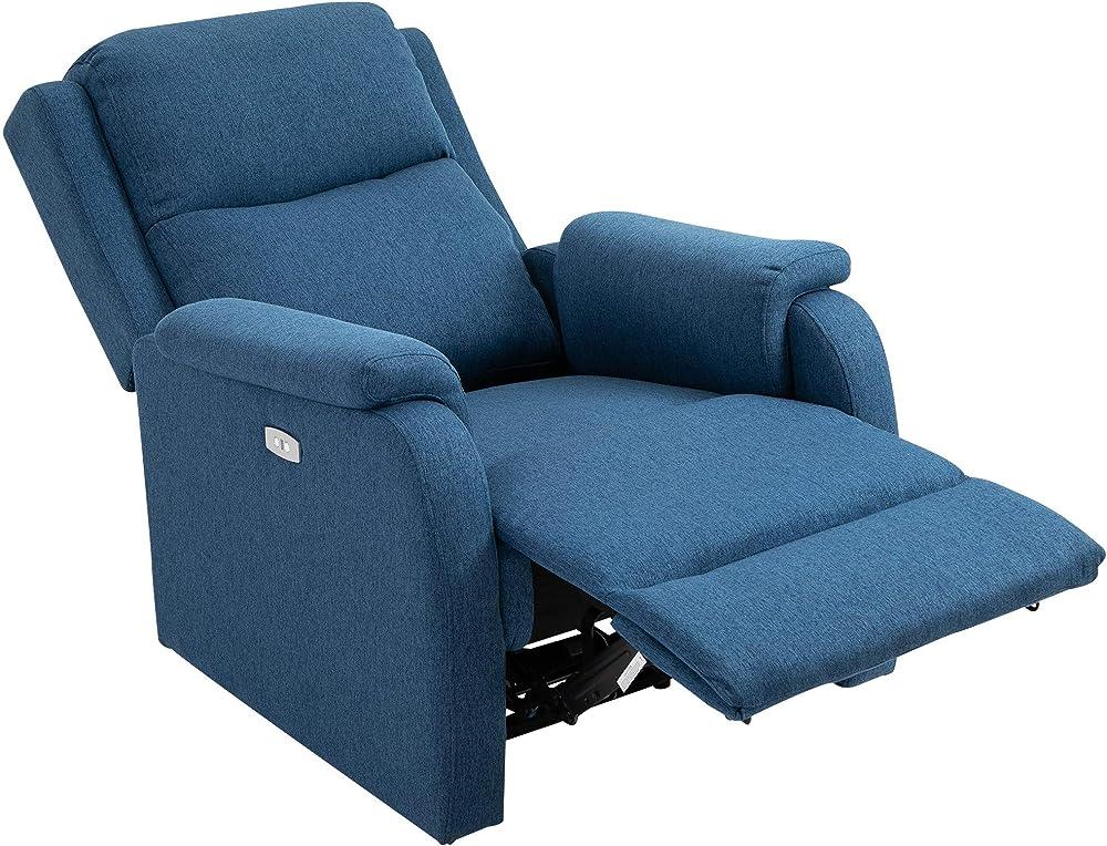Poltrona relax elettrica, con schienale reclinabile 160°, poggiapiedi e porta usb, in lino blu IT833-8440631