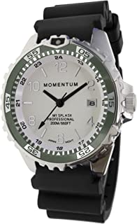 Momentum Men & Women's Dive Series Quartz Sports Watch - M1 Splash | Water Resistant, Easy to Read White Luminous Dial, Date, Screw Crown, Stainless Steel Case & Bezel | Black Band | Analog