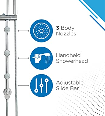"""Blue Ocean 42"""" Stainless Steel SC32002 Retro-Fit Rain Shower System with Shower Head, Body Nozzles, and Adjustable Slide Bar"""