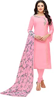 Rajnandini Women's Baby Pink chanderi silk Embroidered Semi-Stitched Salwar Suit Material With Printed Dupatta (Free Size)